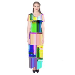 Glitch Art Abstract Short Sleeve Maxi Dress