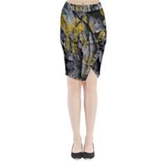 Grey Yellow Stone Midi Wrap Pencil Skirt by Nexatart