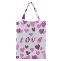Love Valentine S Day 3d Fabric Classic Tote Bag by Nexatart