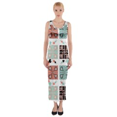 Mint Black Coral Heart Paisley Fitted Maxi Dress by Nexatart