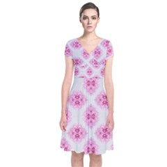 Peony Photo Repeat Floral Flower Rose Pink Short Sleeve Front Wrap Dress