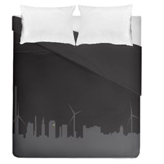 Windmild City Building Grey Duvet Cover Double Side (Queen Size) by Jojostore