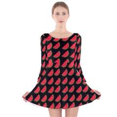 Watermelon Long Sleeve Velvet Skater Dress by Jojostore
