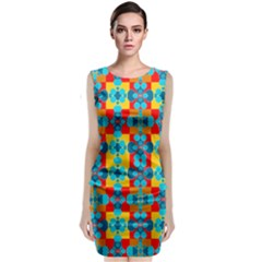 Pop Art Abstract Design Pattern Classic Sleeveless Midi Dress by Nexatart
