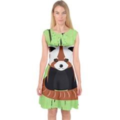 Red Panda Bamboo Firefox Animal Capsleeve Midi Dress by Nexatart