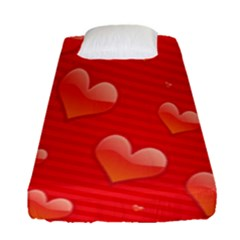 Red Hearts Fitted Sheet (single Size) by Nexatart