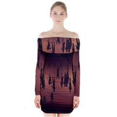 Silhouette Of Circus People Long Sleeve Off Shoulder Dress by Nexatart