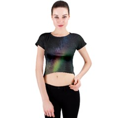 Starry Sky Galaxy Star Milky Way Crew Neck Crop Top by Nexatart