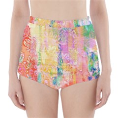 Watercolour Watercolor Paint Ink  High Waisted Bikini Bottoms