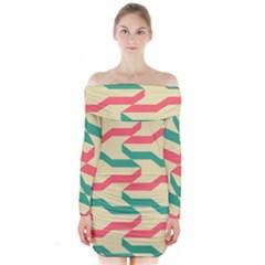 Exturas On Pinterest  Geometric Cutting Seamless Long Sleeve Off Shoulder Dress