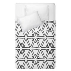 Flower Black Triangle Duvet Cover Double Side (single Size) by Jojostore