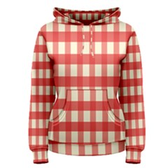 Gingham Red Plaid Women s Pullover Hoodie