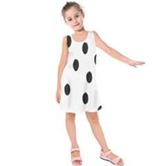 Gold Polka Dots Dalmatian Kids  Sleeveless Dress by Jojostore