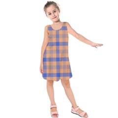 Fabric Colour Orange Blue Kids  Sleeveless Dress by Jojostore