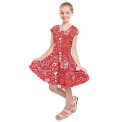 Happy Valentines Love Heart Red Kids  Short Sleeve Dress by Jojostore