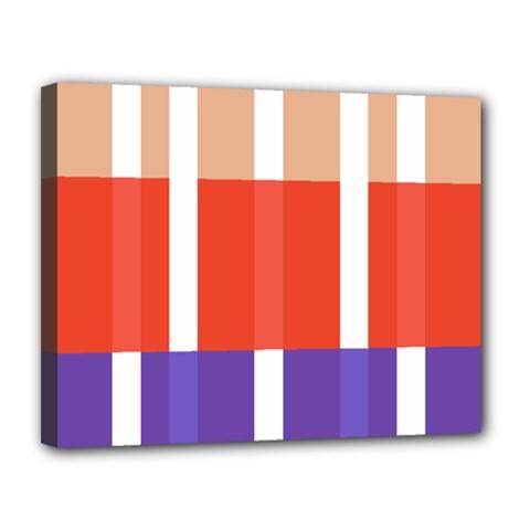 Compound Grid Flag Purple Red Brown Canvas 14  X 11  by Jojostore