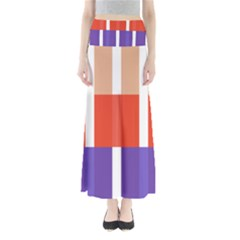Compound Grid Flag Purple Red Brown Maxi Skirts