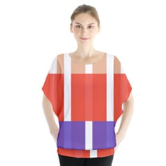 Compound Grid Flag Purple Red Brown Blouse by Jojostore