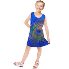 Blue Peacock Feather Kids  Tunic Dress