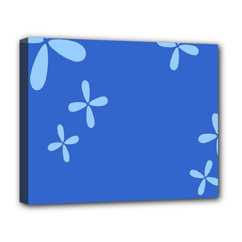 Flower Floral Blue Deluxe Canvas 20  X 16   by Jojostore