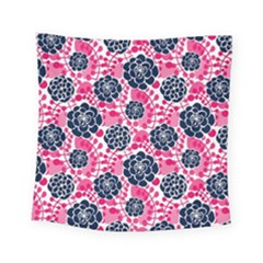 Flower Floral Rose Purple Pink Leaf Square Tapestry (small) by Jojostore