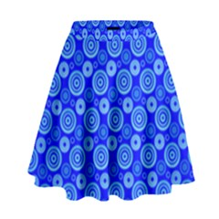 Neon Circles Vector Seamles Blue High Waist Skirt by Jojostore