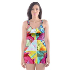 Colorful Hipster Classy Skater Dress Swimsuit by Brittlevirginclothing