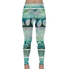 Deep blue tribal Classic Yoga Leggings by Brittlevirginclothing