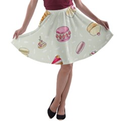 Cute Cakes A Line Skater Skirt by Brittlevirginclothing