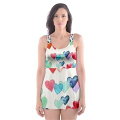 Cute Rainbow Hearts Skater Dress Swimsuit by Brittlevirginclothing