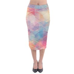 Colorful light Velvet Midi Pencil Skirt by Brittlevirginclothing