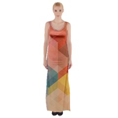 Colorful Warm Colored Quares Maxi Thigh Split Dress by Brittlevirginclothing