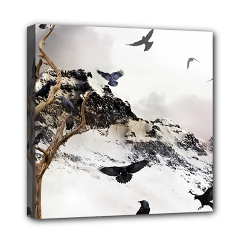 Birds Crows Black Ravens Wing Mini Canvas 8  X 8  by Amaryn4rt