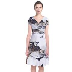 Birds Crows Black Ravens Wing Short Sleeve Front Wrap Dress