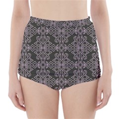 Line Geometry Pattern Geometric High Waisted Bikini Bottoms by Amaryn4rt