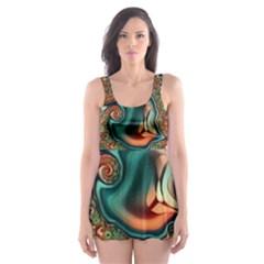 Painted Fractal Skater Dress Swimsuit by Fractalworld
