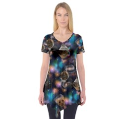 Galaxy Cats Short Sleeve Tunic  by electrogiraffe