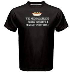 Black hotdog VS girlfriend Men s Cotton Tee by FunnySaying