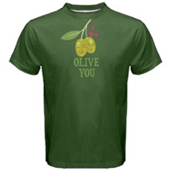 Green Olive You Men s Cotton Tee by FunnySaying