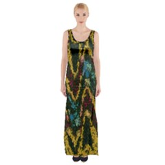 Painted Waves                                                         Maxi Thigh Split Dress by LalyLauraFLM