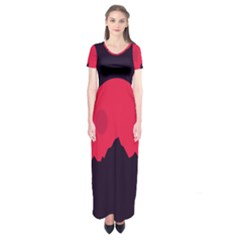 Awesome Photos Collection Minimalist Moon Night Red Sun Short Sleeve Maxi Dress by Jojostore