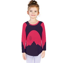 Awesome Photos Collection Minimalist Moon Night Red Sun Kids  Long Sleeve Tee