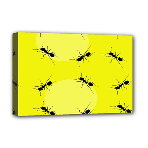 Ant Yellow Circle Deluxe Canvas 18  X 12   by Jojostore