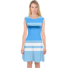 Blue Horizon Graphic Simplified Version Capsleeve Midi Dress by Jojostore
