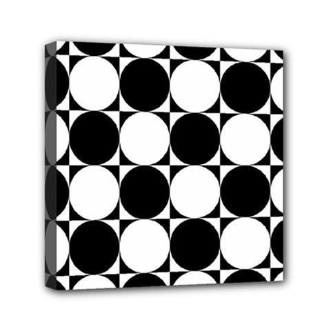 Circles Black White Mini Canvas 6  X 6  by Jojostore