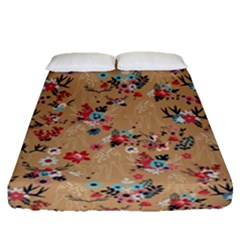 Deer Cerry Animals Flower Floral Leaf Fruit Brown Fitted Sheet (queen Size) by Jojostore