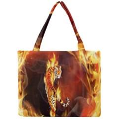 Fire Tiger Lion Animals Wild Orange Yellow Mini Tote Bag by Jojostore