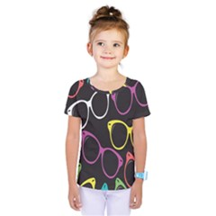 Glasses Color Pink Mpurple Green Yellow Blue Rainbow Black Kids  One Piece Tee by Jojostore