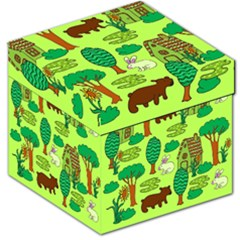 Kids House Rabbit Cow Tree Flower Green Storage Stool 12   by Jojostore