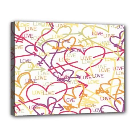 Love Heart Valentine Rainbow Color Purple Pink Yellow Green Canvas 14  X 11  by Jojostore